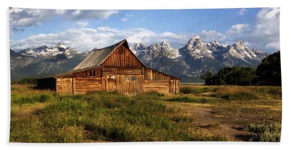 T. A. Moulton Barn - Mormon Row Dawn Sunrise Grand Teton National Park Wyoming Usa Hand Towel featuring the photograph T.a. Moulton Barn by Paul Cannon