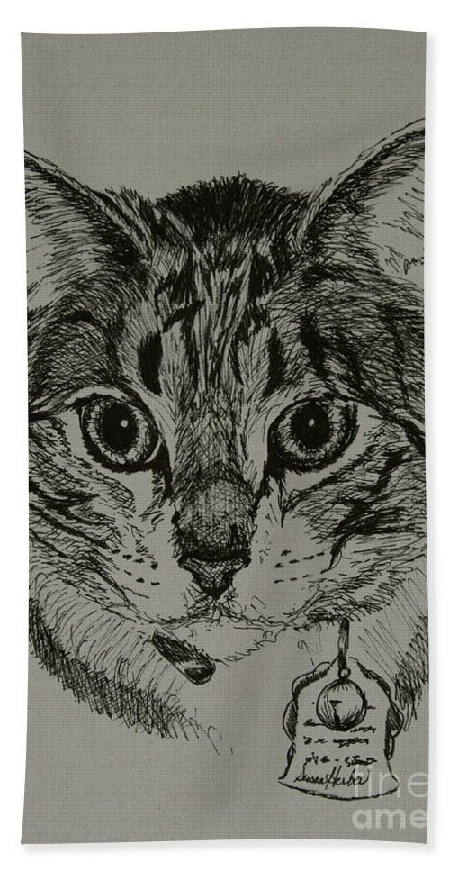 Tabby Cat Bath Sheet featuring the drawing Tabby by Susan Herber