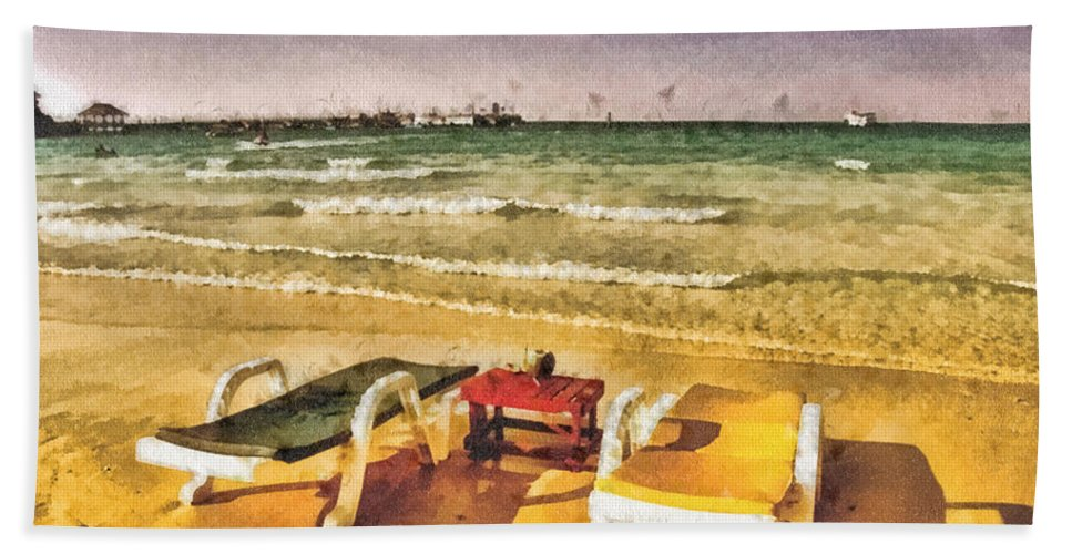 Table For Two Hand Towel featuring the painting Table For Two by Mo T