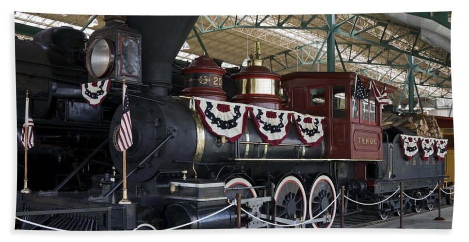 Antique Steam Locomotive Hand Towel featuring the photograph Tahoe Steam Locomotive by Sally Weigand