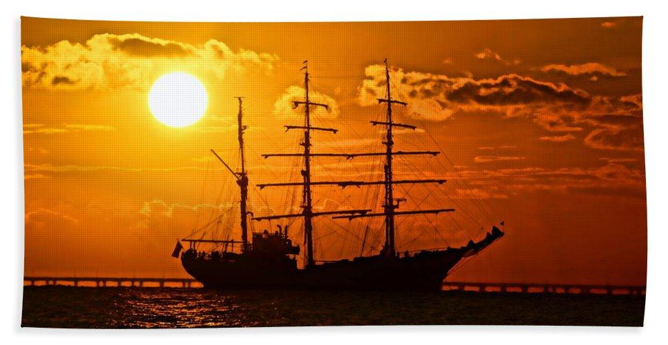 Tall Ship Bath Sheet featuring the photograph Tall Ship At Sunset by Alan Hutchins