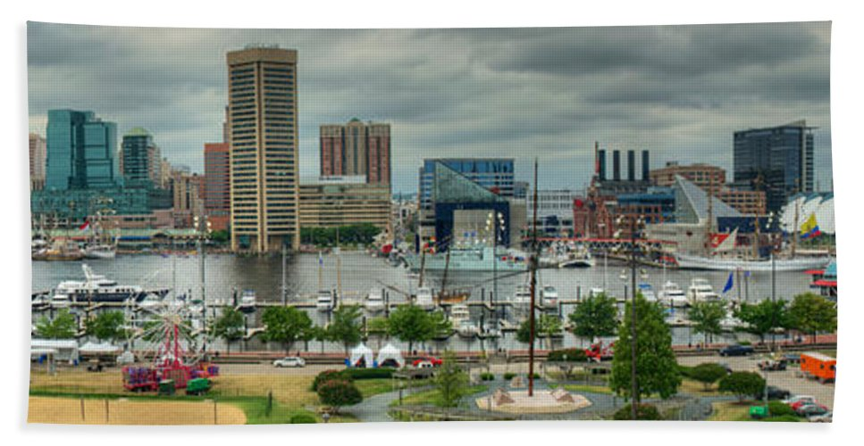 Baltimore Hand Towel featuring the photograph Tall Ships At Baltimore Inner Harbor by Mark Dodd