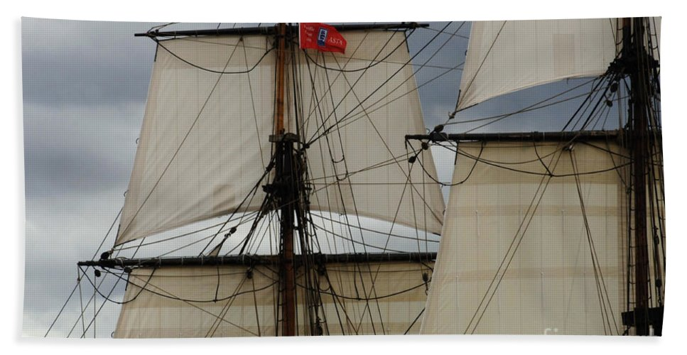 Tall Ship Hand Towel featuring the photograph Tall Ships by Bob Christopher
