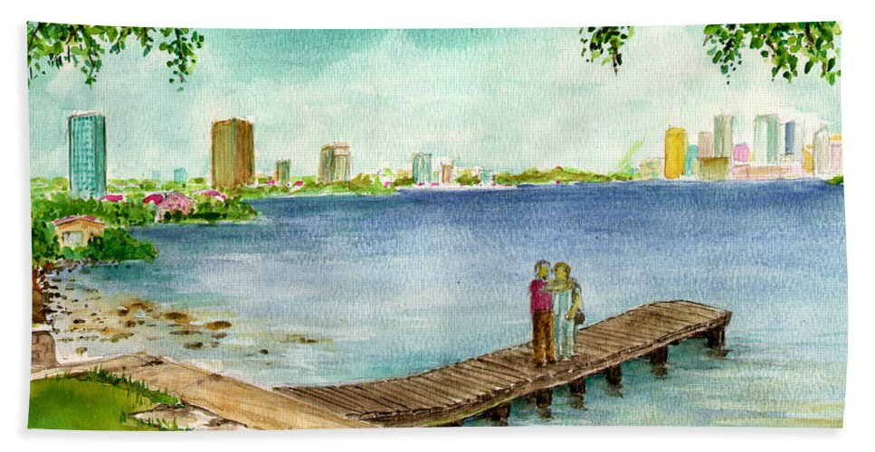 Pier Tampa Bay Buildings Couple Rocks Hand Towel featuring the painting Tampa Fl Little Pier At Ballast Point by Frank Hunter