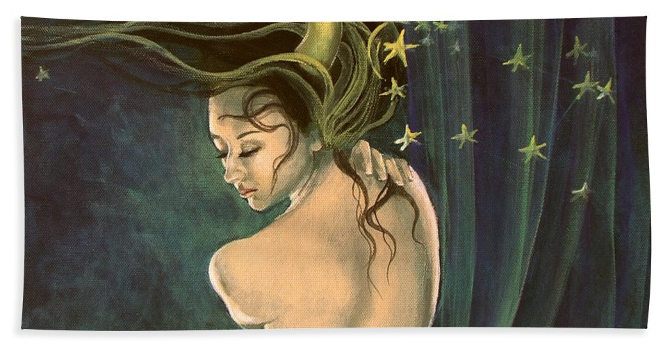 Art Bath Sheet featuring the painting Taurus From Zodiac Series by Dorina Costras