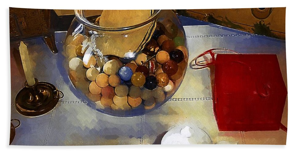 Antiques Bath Sheet featuring the painting Tea And Toys by RC DeWinter