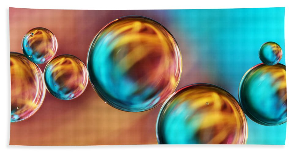 Oil Bath Sheet featuring the photograph Techno-coloured Bubble Abstract by Sharon Johnstone