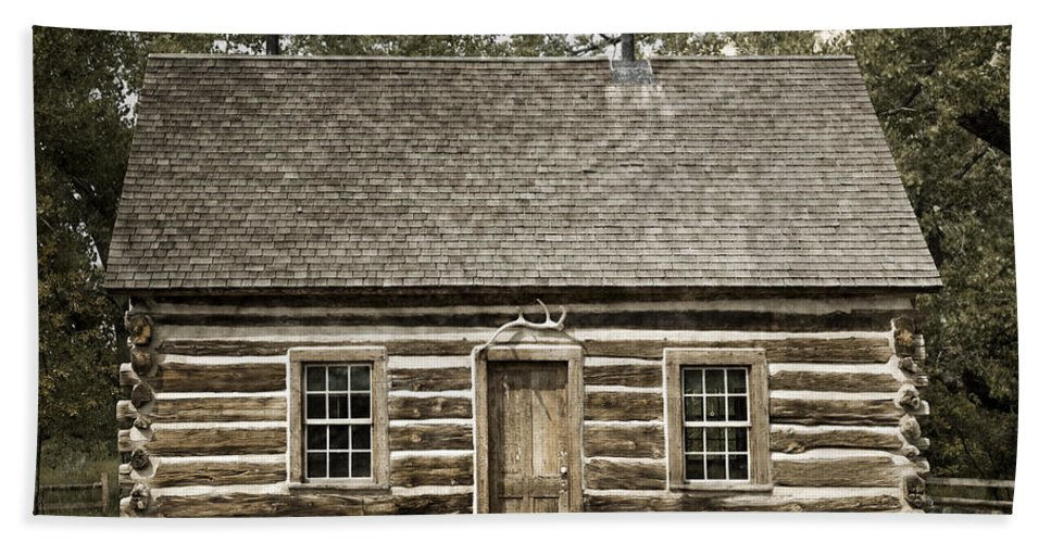 Past Hand Towel featuring the photograph Teddy Roosevelt's Maltese Cross Log Cabin Retro Style by John Stephens