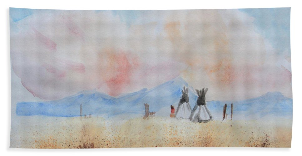 Teepees Bath Sheet featuring the painting Teepees - Watercolor by Heidi Smith