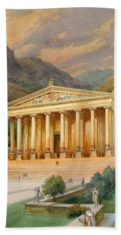 Seven Wonders Of The Ancient World; Temple Of Diana; Artemis; Ephesus; Shrine Hand Towel featuring the painting Temple Of Diana by English School