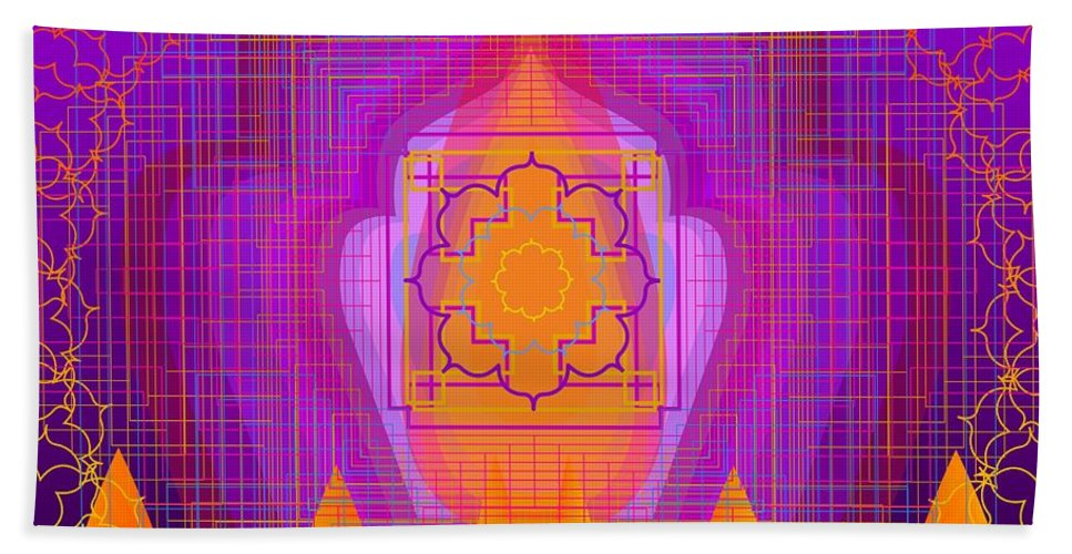 Digital Bath Sheet featuring the digital art Temple Of The Inner Flame 2012 by Kathryn Strick