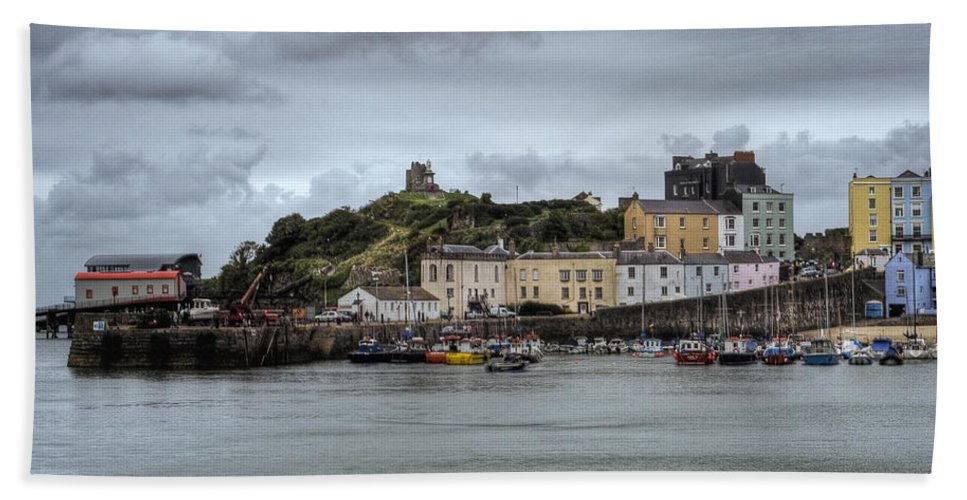 Tenby Harbour Bath Sheet featuring the photograph Tenby Harbour From North Beach by Steve Purnell