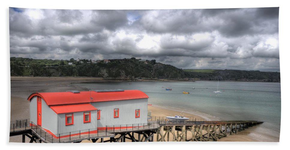 Tenby Lifeboat House Bath Sheet featuring the photograph Tenby Lifeboat House by Steve Purnell
