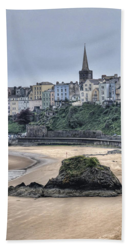 Tenby Bath Sheet featuring the photograph Tenby Over North Beach by Steve Purnell
