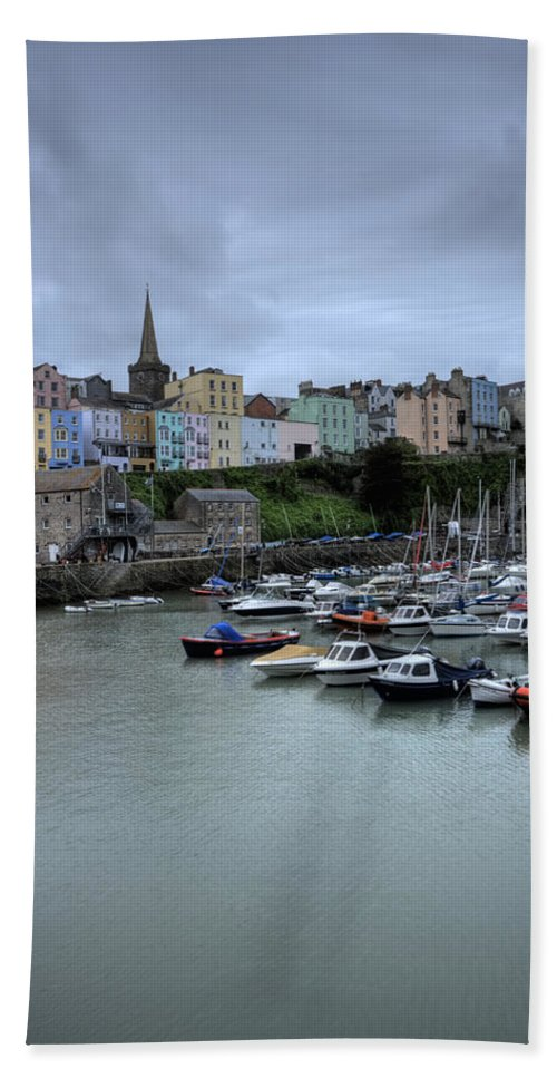 Tenby Harbour Bath Sheet featuring the photograph Tenby Town Across The Harbour by Steve Purnell