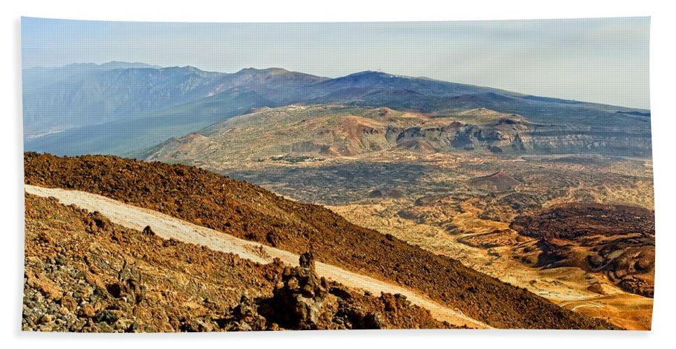 Nature Bath Sheet featuring the photograph Tenerife Volcanic Landscape by Artur Bogacki
