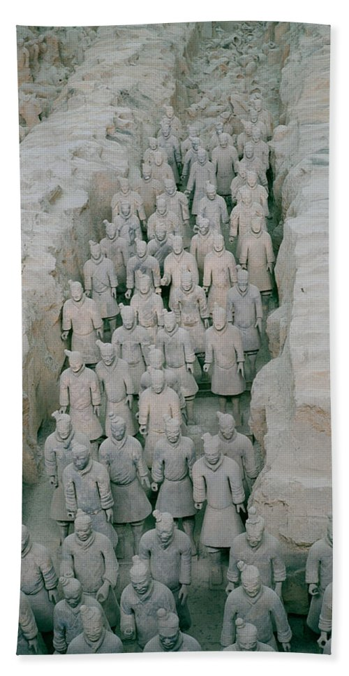 Cultural Bath Sheet featuring the photograph Terracotta Warriors In Xian In China by Shaun Higson