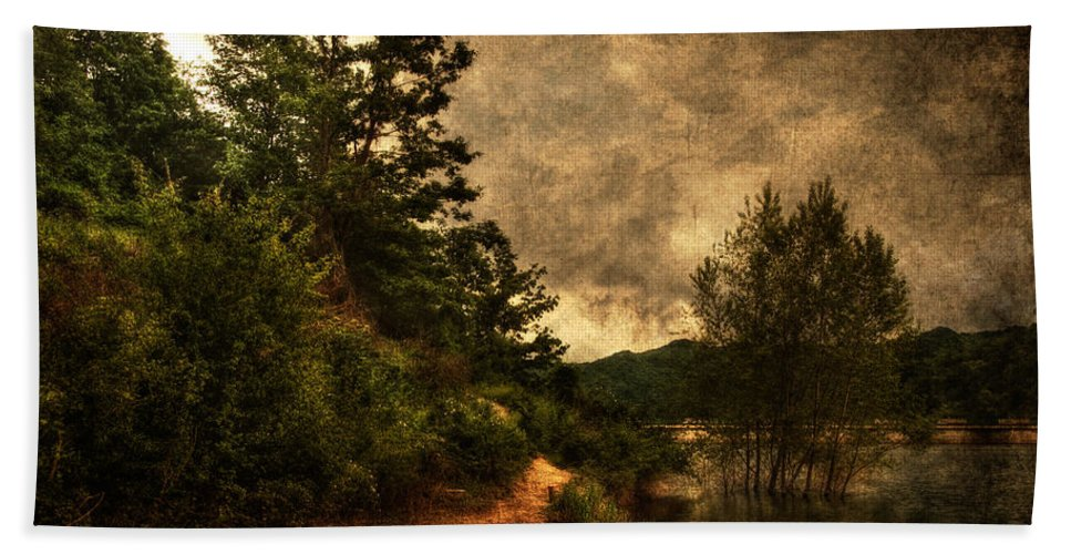 Brugneto Lake Hand Towel featuring the photograph Textured Lake by Roberto Pagani