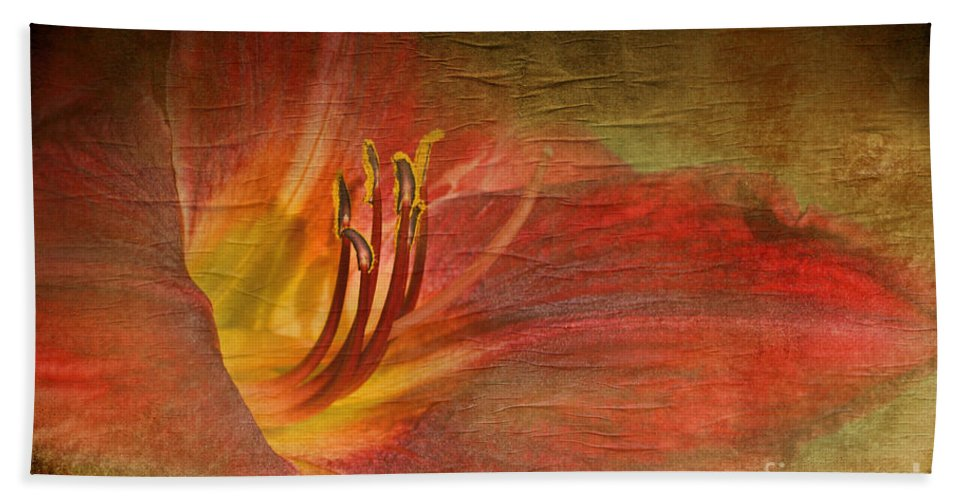 Nature Hand Towel featuring the photograph Textured Red Daylily by Debbie Portwood