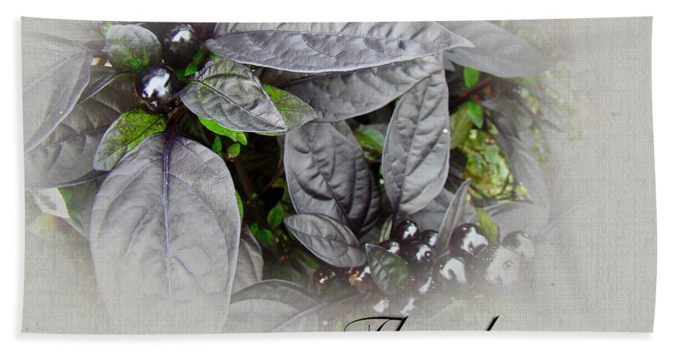 thank You Bath Sheet featuring the photograph Thank You Card - Silver Leaves And Berries by Mother Nature