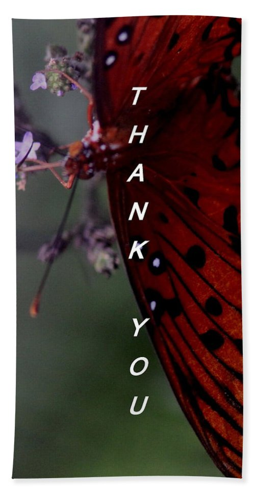Butterfly Hand Towel featuring the photograph Thank You Card - Butterfly by Travis Truelove