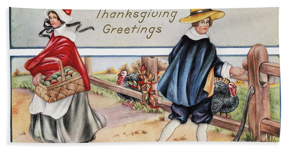 1900 Bath Sheet featuring the photograph Thanksgiving, C1900 by Granger