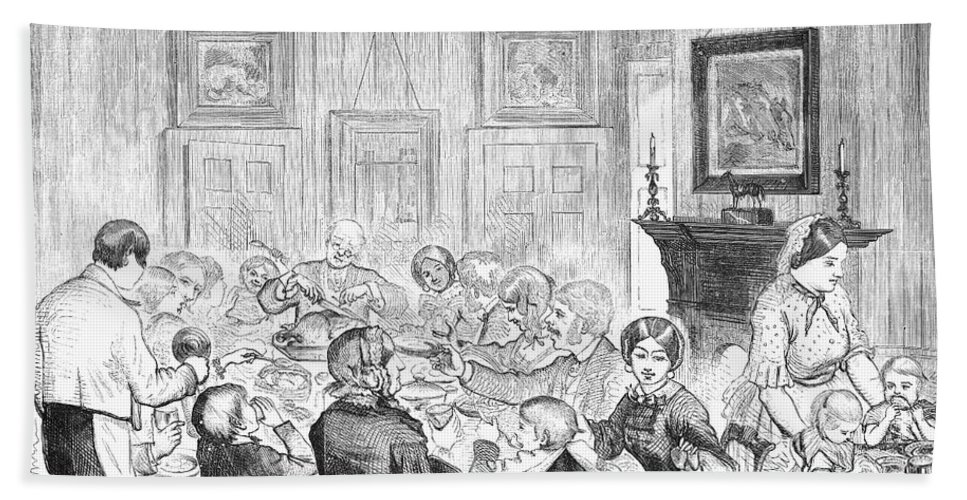 1857 Bath Sheet featuring the photograph Thanskgiving Dinner, 1857 by Granger
