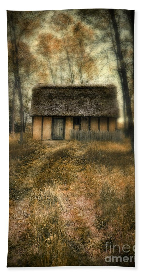 Cabin Hand Towel featuring the photograph Thatched Roof Cottage In The Woods by Jill Battaglia