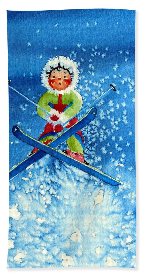 Kids Art For Ski Chalet Hand Towel featuring the painting The Aerial Skier - 11 by Hanne Lore Koehler