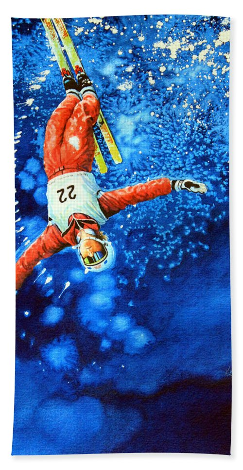 Sports Art Hand Towel featuring the painting The Aerial Skier 20 by Hanne Lore Koehler