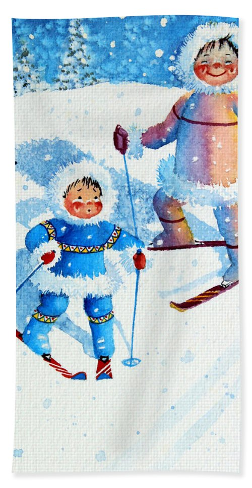 Kids Art For Ski Chalet Hand Towel featuring the painting The Aerial Skier - 6 by Hanne Lore Koehler