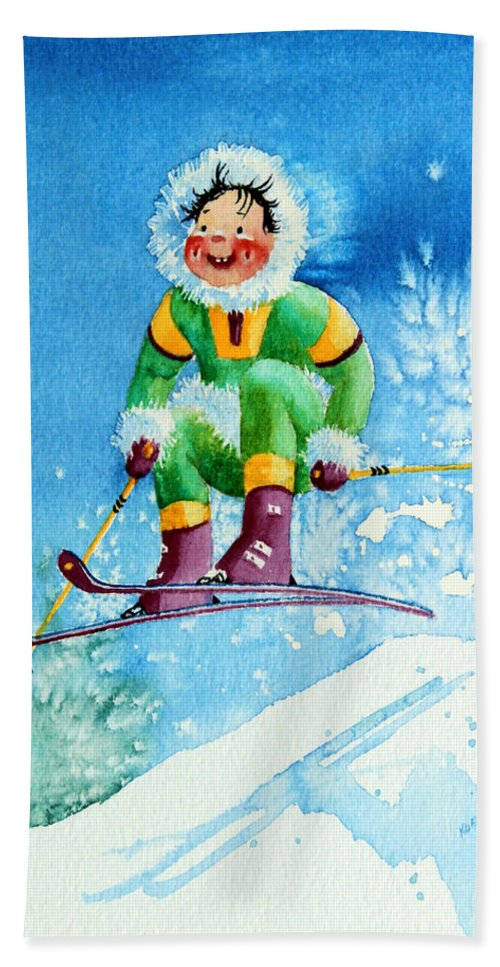 Kids Art For Ski Chalet Bath Sheet featuring the painting The Aerial Skier - 9 by Hanne Lore Koehler