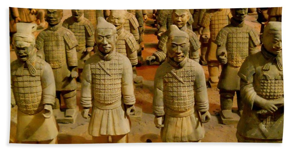 Qin Shi Huang Bath Sheet featuring the photograph The Army Of The Afterlife by Rachel Kaufmann