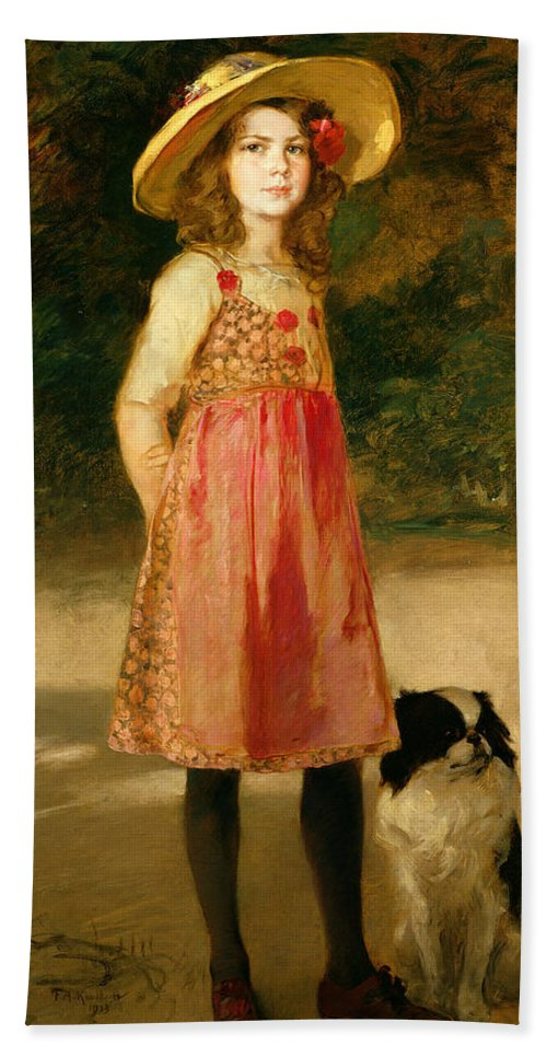 Gg33614 Bath Sheet featuring the photograph The Artist's Daughter - Hilde  by Frederich August Kaulbach