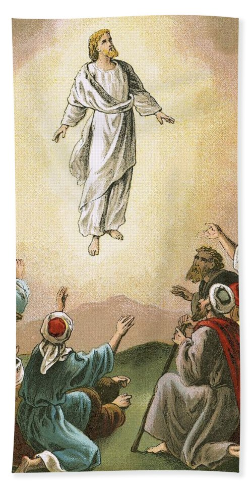 Bible; Ascension; Jesus; Christ; Heaven Bath Sheet featuring the painting The Ascension by English School