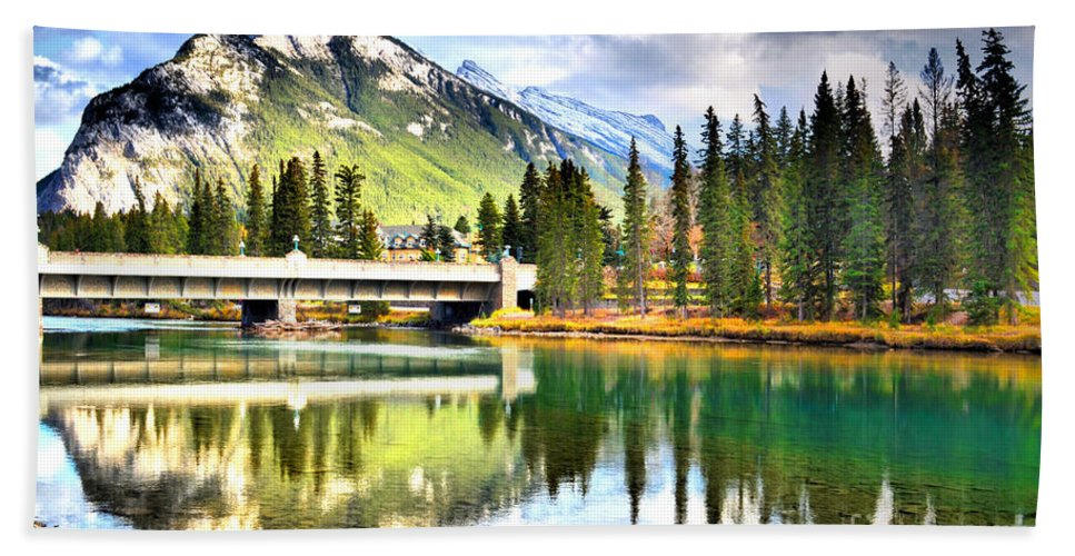 River Hand Towel featuring the photograph The Banff Bridge by Tara Turner