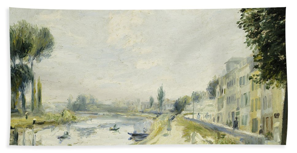 Impressionist; Impressionism; Landscape; River; Town; Tree; Buildings Hand Towel featuring the painting The Banks Of The Seine At Bougival by Pierre Auguste Renoir