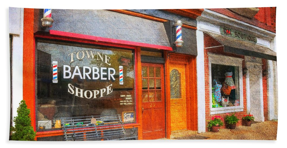 The Barber Shop Bath Sheet featuring the photograph The Barber Shop by Paul Ward