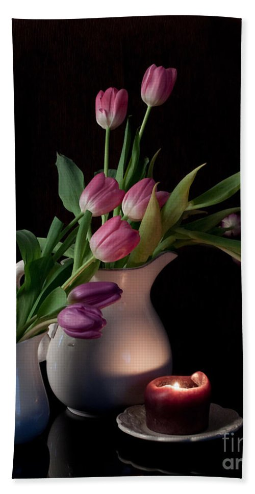 Tulips Bath Sheet featuring the photograph The Beauty Of Tulips by Sherry Hallemeier