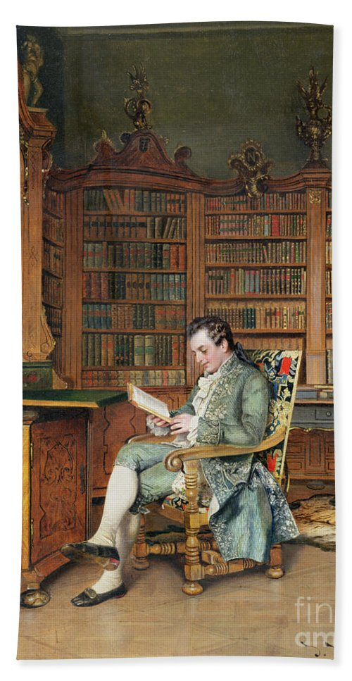 The Bibliophile Hand Towel featuring the painting The Bibliophile by Johann Hamza