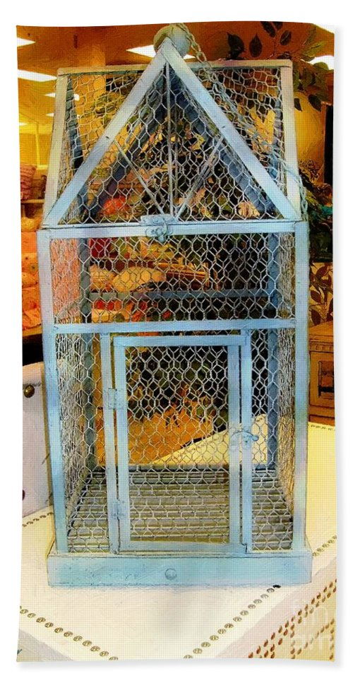 Birdcage Bath Sheet featuring the painting The Birdcage by RC DeWinter