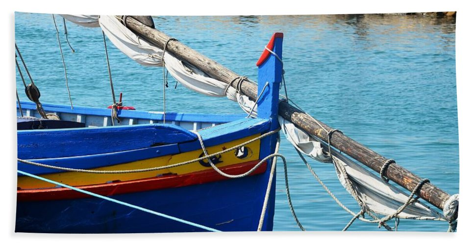 Aqua Hand Towel featuring the photograph The Blue Boat by Dany Lison