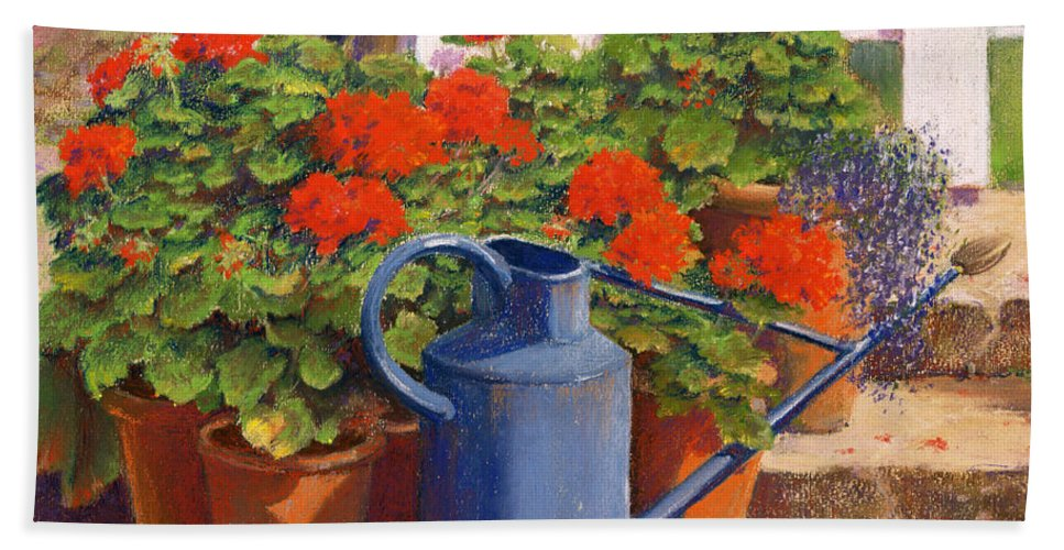 Still Life; Geranium; Geraniums; Pot Plant; Plants; Flowers; Red; Garden; Gardening; Flower; Leaf; Leafs; Leafy; Pot; Pots; Fence; Fences; Stairs; Watering Can; Blue Bath Towel featuring the painting The Blue Watering Can by Anthony Rule