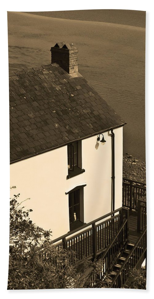 The Boathouse Bath Sheet featuring the photograph The Boathouse At Laugharne Sepia by Steve Purnell