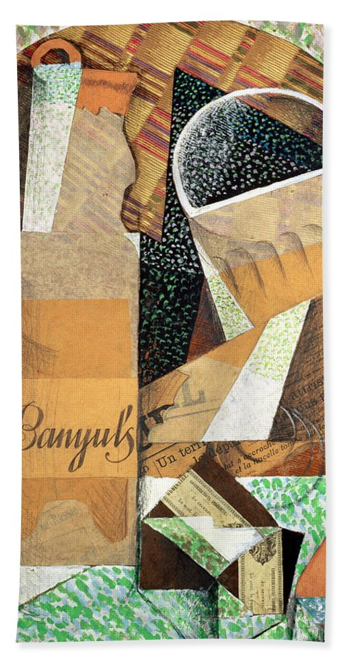The Bottle Of Banyuls Bath Sheet featuring the painting The Bottle Of Banyuls by Juan Gris