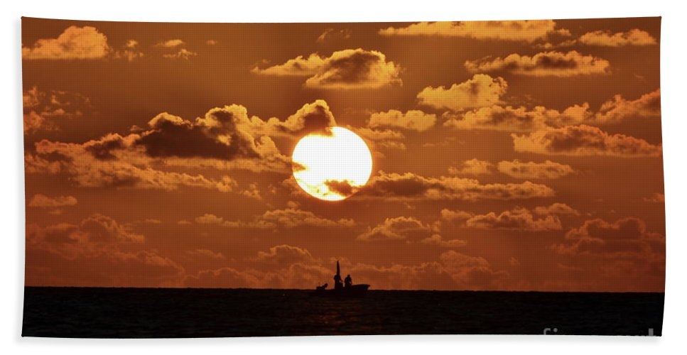 Sunset Hand Towel featuring the photograph the Bronzy Sunset. by Alfie Borg