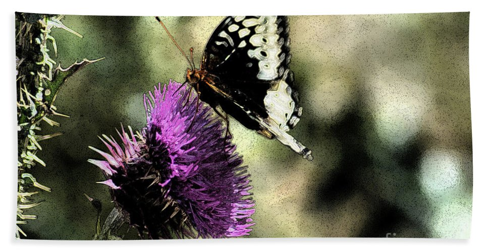 Fine Art Bath Sheet featuring the photograph The Butterfly II by Donna Greene
