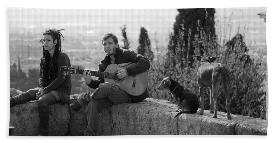Granada Bath Sheet featuring the photograph The Canine Troubadour by Lorraine Devon Wilke