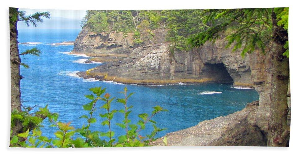 Pacific Ocean Hand Towel featuring the photograph The Caves Of Cape Flattery by Tikvah's Hope