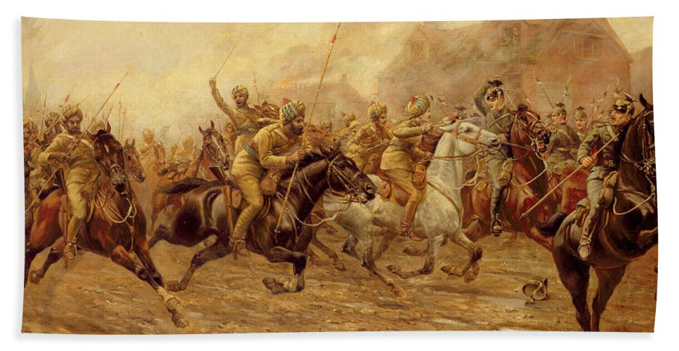 The Charge Of The Bengal Lancers At Neuve Chapelle Bath Sheet featuring the painting The Charge Of The Bengal Lancers At Neuve Chapelle by Derville Rowlandson